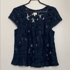 Hollister Gilly Hicks Navy Sheer Lace Top